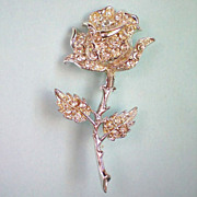 SALE Silver tone Rhinestone Rose Flower Pin