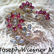SALE Joseph Wiesner of NY Floral Brooch & Earrings