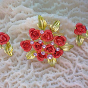 SALE Metal & Enamel Bouquet of Roses Brooch &  Earrings
