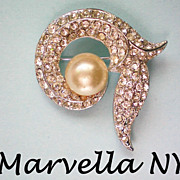 SALE Marvella NY 1960's Faux Pearl / Rhinestone Brooch