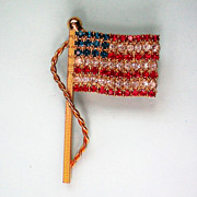 SALE American Flag Pin with Red White & Blue Rhinestones