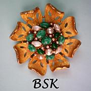 SALE Signed BSK Faux Pearl, Jade & Diamante Brooch