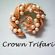 SALE Signed Crown Trifari Faux Pearl Brooch