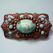 SALE Pot Metal Turquoise Brooch