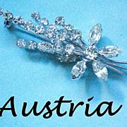 SALE Austrian Crystal Floral Brooch