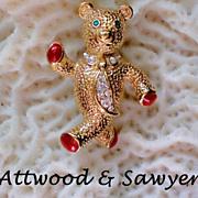 SALE Attwood & Sawyer Enamel and Rhinestone Teddy Bear Pin