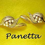 SALE Signed Panetta Clip Earrings