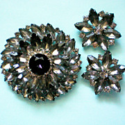 SALE Dazzling Smoky Gray, Black, & Clear Brooch with Earrings
