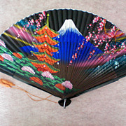 SALE Wood & Paper Japanese Scene Hand Fan