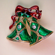 SALE Christmas Holiday Enameled Bells Pin