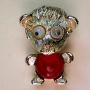 SALE Googly Eyes Jelly Belly Bear Pin