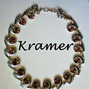 SALE Signed Kramer Amber Rhinestone Choker Necklace