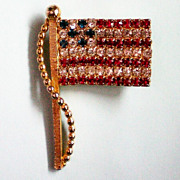 SALE American Flag Pin with Red, White, Blue Rhinestones
