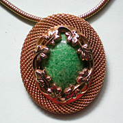 SALE Floral Framed Green Stone Pendant with Snake Chain