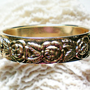 SALE Floral Hinged Bangle with Rose Design