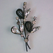 SALE Black and Crystal, Made in Austria, Brooch
