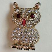 SALE Pave' Rhinestone Owl Pin