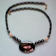 SALE Huge Hematite Stone Beaded Necklace