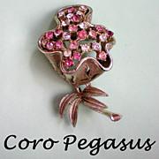 SALE Coro Pegasus Adolph Katz Trembler Rhinestone Flower Pin