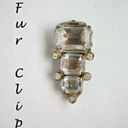 SALE Emerald Cut Crystal & Rhinestone Fur Dress Clip