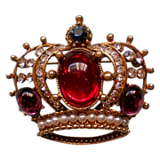 SALE Large Jeweled Foil Backed Stones Crown Brooch
