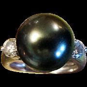 SALE Black Pearl & Diamond Ring, Heirloom