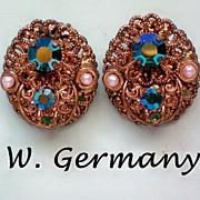 SALE Western Germany Filigree Clip Earrings