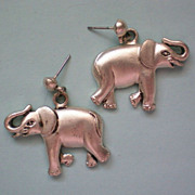SALE Lucky Elephant Silver Tone Earrings