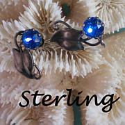 SALE Sterling Silver Blue Stone Earrings