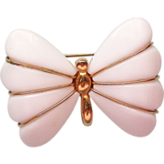 SALE Trifari Lucite White Butterfly Pin