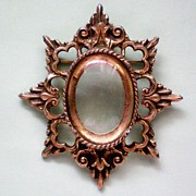 SALE Picture Frame Brooch with Magnifying Lens