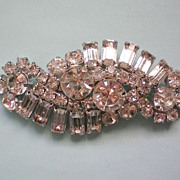 SALE Large Round and Baguette Crystal Brooch