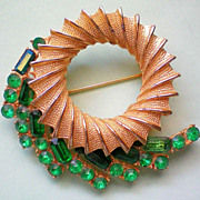 SALE Emerald Green Circle Brooch by BSK
