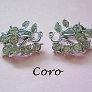 SALE Coro Silver tone Rhinestone Clip Earrings