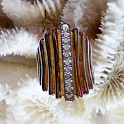 SALE 18K HGE Gold Banded Rhinestone Ring
