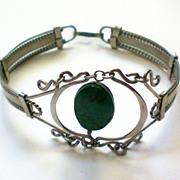 SALE Intricate Silver & Malachite Bracelet
