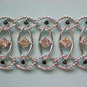 SALE Emmons Rhinestone Silver tone Chain Link Bracelet