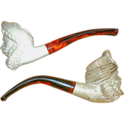 SALE Two Hand Carved Meerschaum Pipes in Original Box