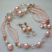 SALE Beaded faux Pearl with AB Bead Necklace & Earrings Set
