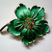 SALE Enameled & Rhinestone Flower Brooch