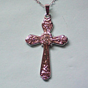 SALE Sterling Silver 925 Crystal Cross Pendant by LIND