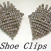 SALE Vintage Rhinestone Waterfall Shoe Clips