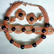 SALE Egyptian Revival Trifari Bold Wire Weave Parure
