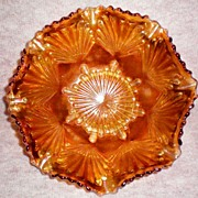 "SOLD Imperial Glass ""Shell and Sand""  Carnival Glass Bowl"