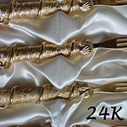 SALE Cocktail / Hors d'oeuvres Forks – Original Box 24K Gold Plate
