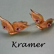 SALE Signed Gold Plated Kramer Book Earrings