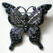 SALE Black and Crystal Articulated Butterfly