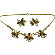 SALE Enamel & Rhinestone Orchid Necklace with Earrings