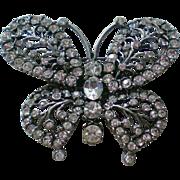 SALE Clear Rhinestone Pot Metal Butterfly Pin