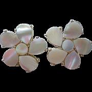 SALE Mother of Pearl Flower Clip Earrings